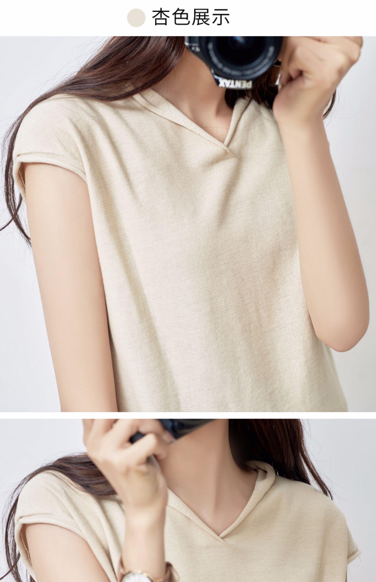 夏季新款!韩版宽松V领短袖针织衫女 12