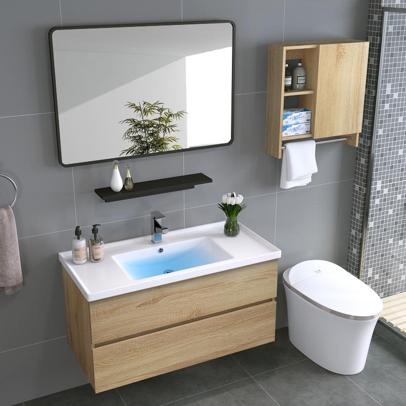 北欧现代简约浴室柜实木吊柜美式柜卫浴镜柜洗脸洗手盆柜组合