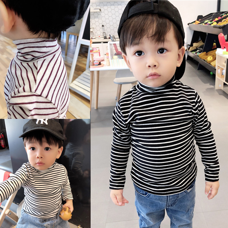 Baby autumn and winter elastic high-necked bottom shirt boys and young children with velvet striped T-shirt warm jacket.