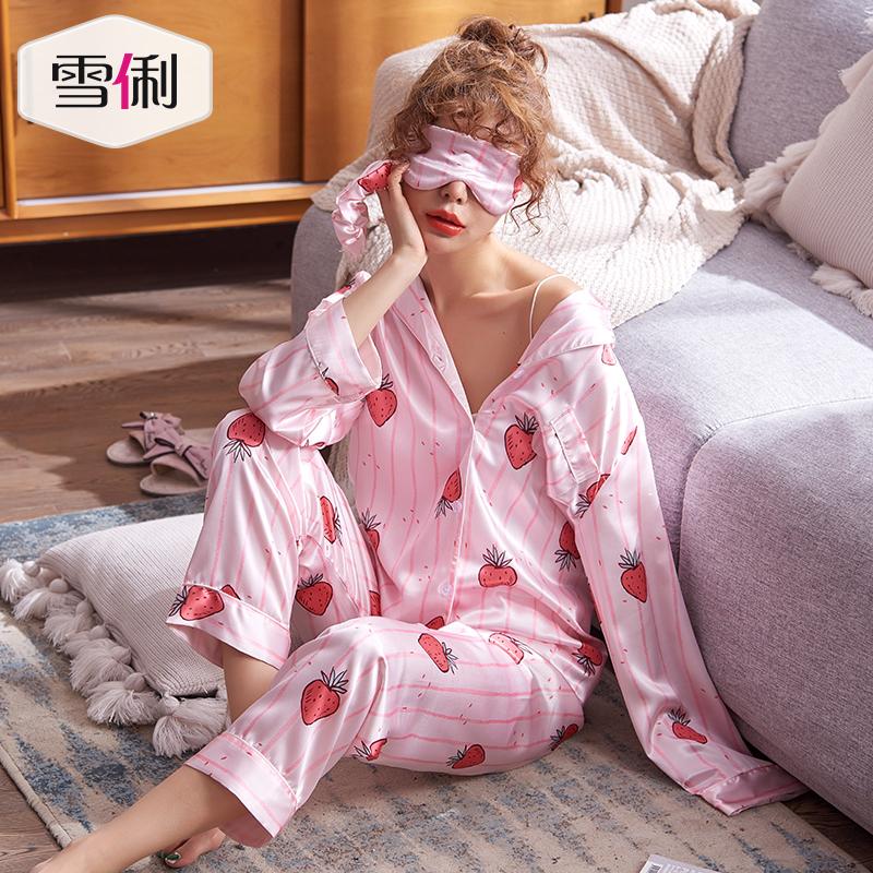 Xue Li dâu tây mùa hè đồ ngủ phụ nữ mùa xuân và mùa thu dễ thương mô phỏng lụa dịch vụ nhà dài tay áo băng lụa mỏng hai mảnh phù hợp - Bộ Pajama