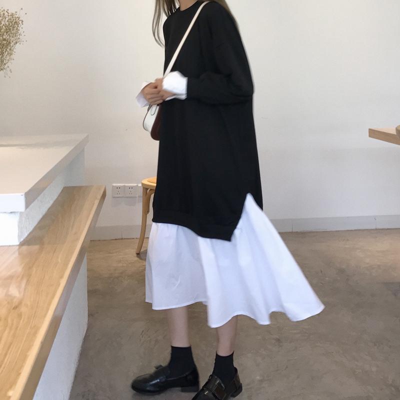 鱼尾2019秋冬新款韩版宽松长袖卫裙子假两件拼接长裙连衣裙衣裙女