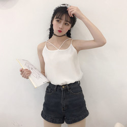 College Wind Small Fresh Double Chiffon Vest Women's Korean Summer Student Cross Sling Bottoming Camisole