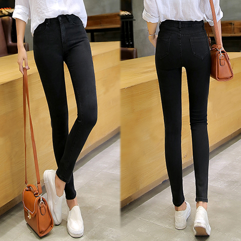 Black jeans female nine pants pants autumn and winter tight bottom high waist small thick feet plus velvet pants