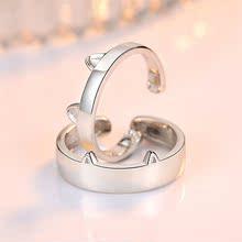 蒂洛琦S925银猫咪开口情侣戒指指环