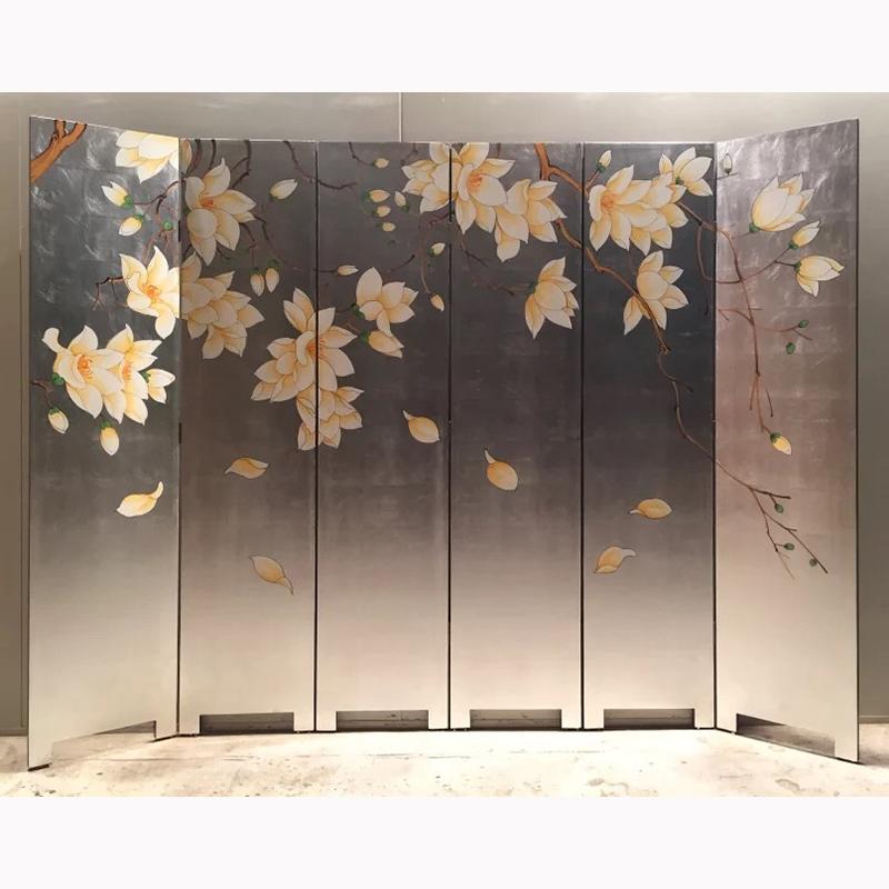 Vàng lá mới phong cách Trung Quốc vẽ tay mộc lan màn hình gấp di động gỗ rắn phòng khách vách ngăn sơn nhẹ sang trọng hiện đại tường nền - Màn hình / Cửa sổ