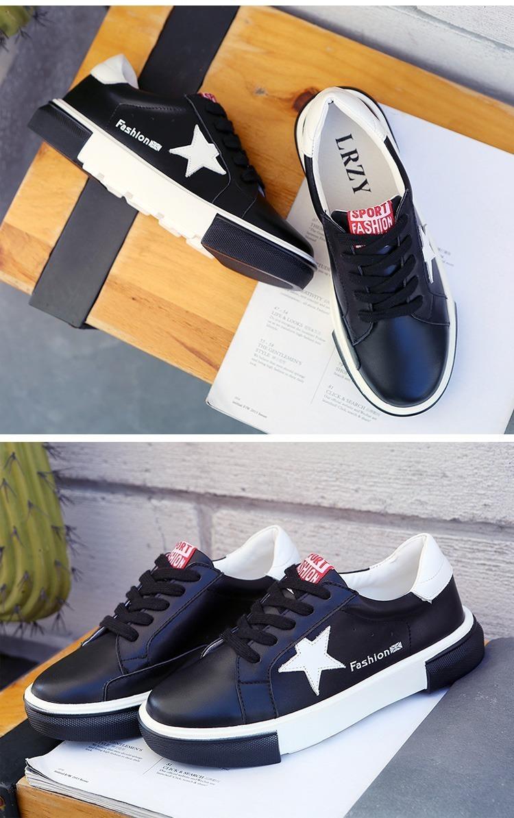 夏款学生板鞋韩版潮真皮牛皮平底小白鞋女士运动休闲鞋低帮商品详情图