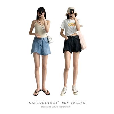 羊城故事破洞牛仔短裤女夏季高腰潮ins显瘦2020年新款宽松超短裤