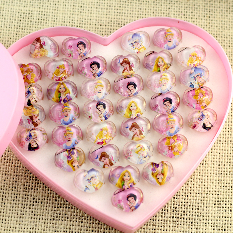 Childrens Little Girl Baby Birthday Gift Snow White Romance Cartoon Ring Jewelry Accessories Love Box