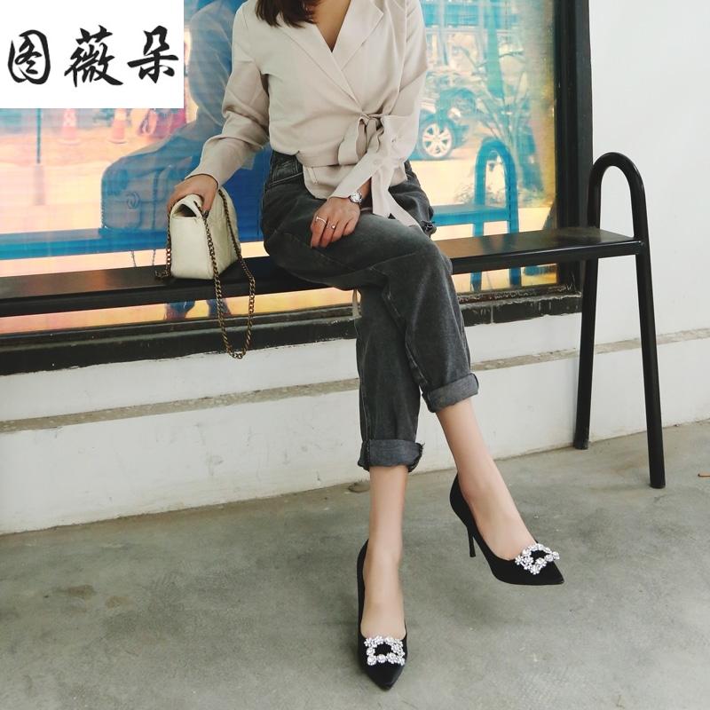 高腰牛仔裤女哈伦裤烟灰色破洞直筒裤宽松韩版chic卷边显瘦九分裤