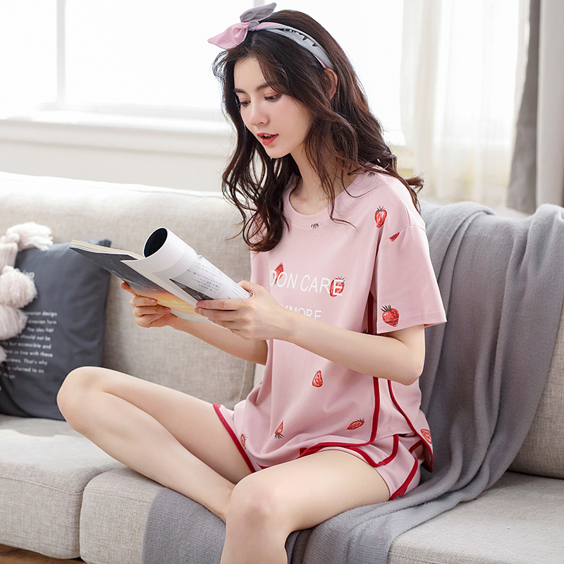 俞兆林睡衣女夏可外穿韩版清新可爱少女短袖家居服学生宽松套装女