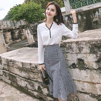 春夏新款韩版洋气格子鱼尾裙时尚两件套