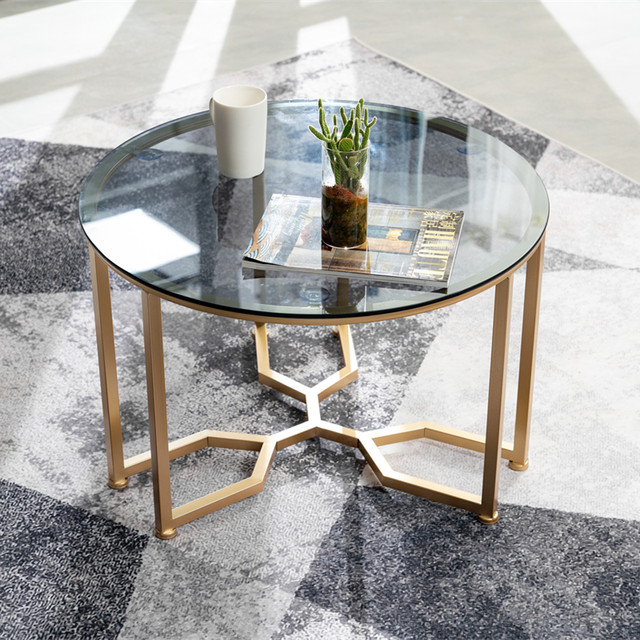 Nordic Round Glass Coffee Table Small Apartment Minimalist Modern Network Red Light Luxury Wrought Iron Balcony Small Round Coffee Tables