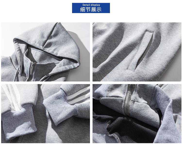Mùa xuân sọc vải giản dị áo khoác nam lỏng trùm đầu đứng cổ áo cardigan những người yêu thích nạp cổng gió BF thủy triều của nam giới áo len