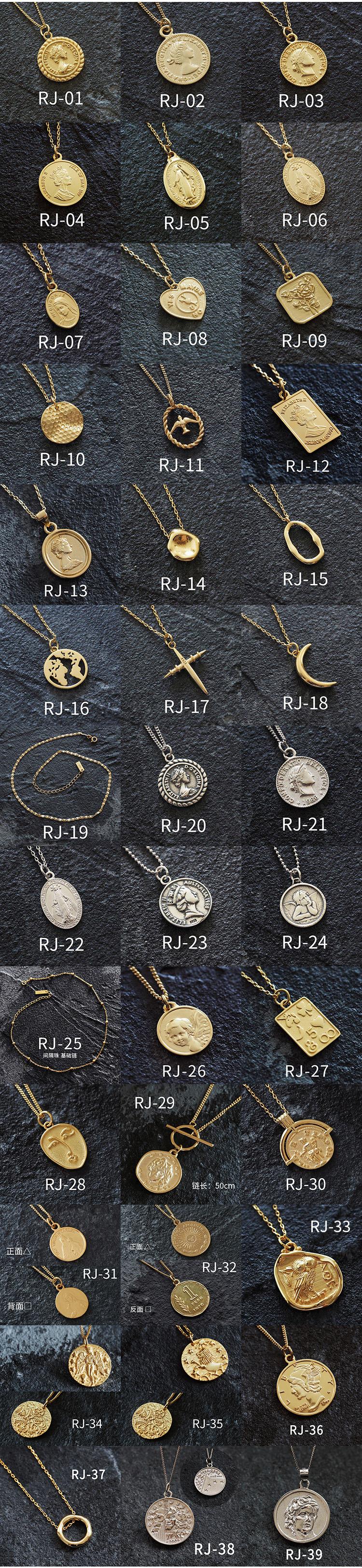 925純銀鎖骨鏈女歐美潮人ins複古人像硬幣錢幣聖母雙麵中長款項鏈