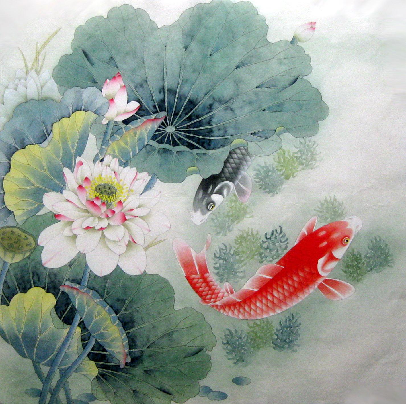 纯手绘国画 四尺斗方工笔荷花鱼 客厅餐厅走廊 家居装饰字画8649