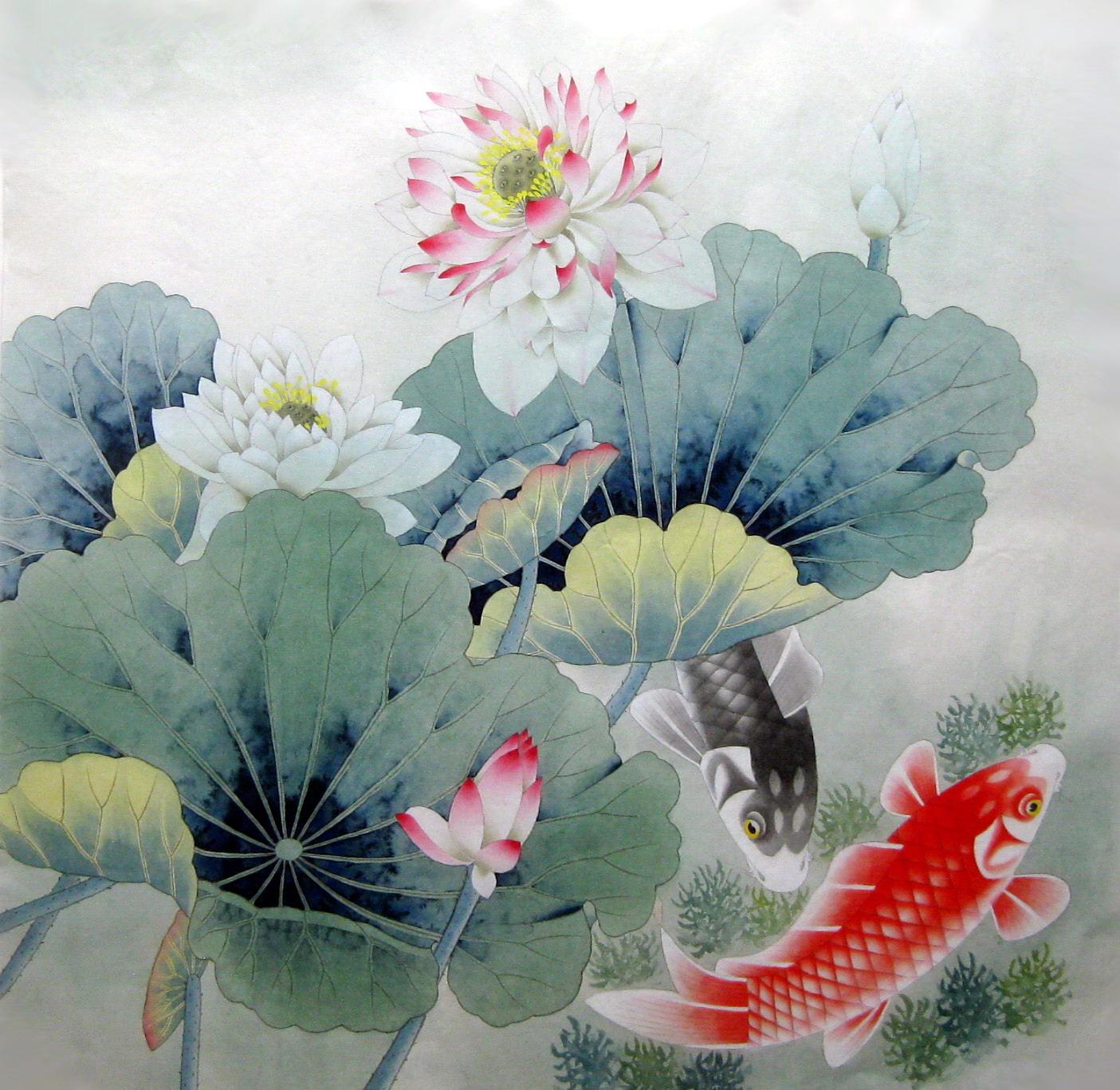 纯手绘国画 四尺斗方工笔荷花鱼 客厅餐厅走廊 家居装饰字画8646
