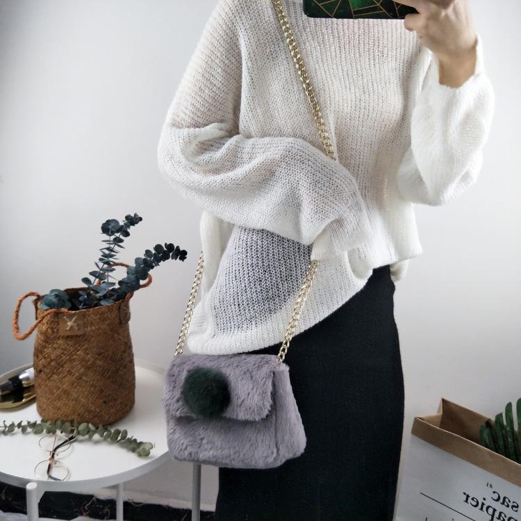 实拍实价 2018早春毛毛包包女百搭毛绒单肩包斜挎包手拎包