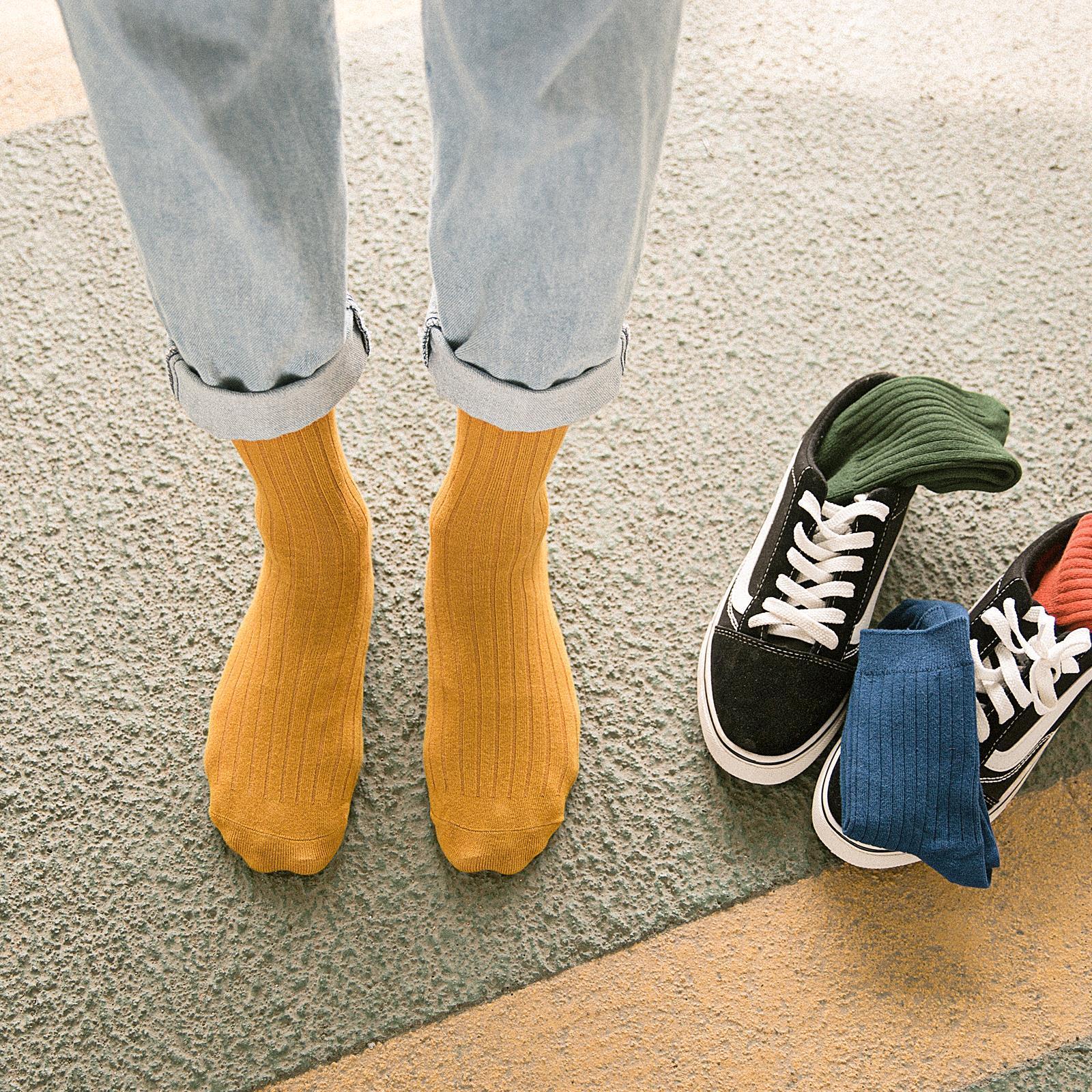 5bae9dca60e Men s socks in the tube socks men s high-top stockings boys trend ins  streetwear pants solid color long tube black summer