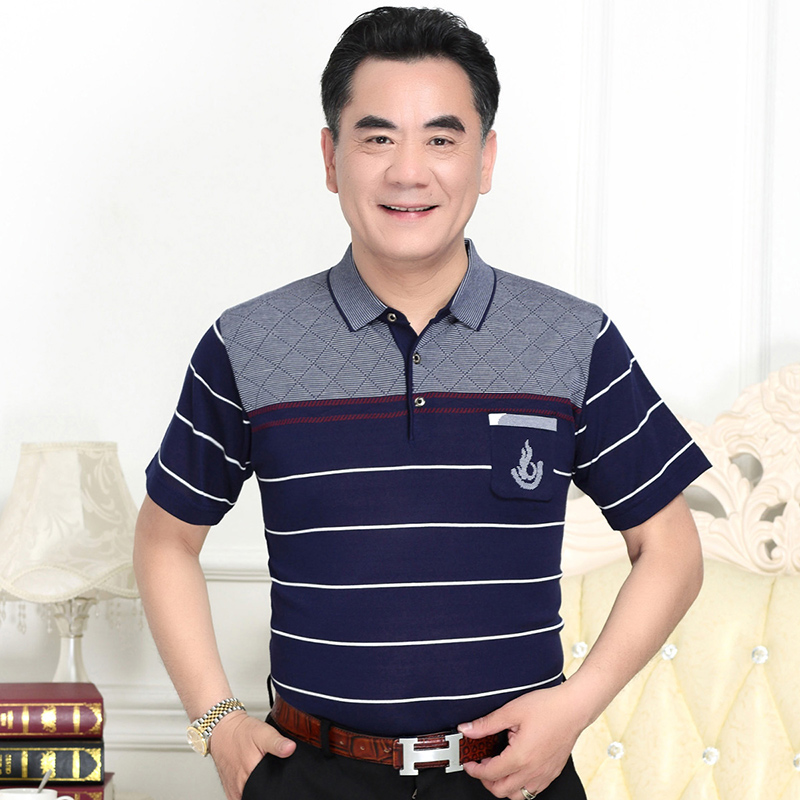 中老年爸爸装短袖T恤男士夏天40-50岁中年人夏季冰丝父亲节上衣服