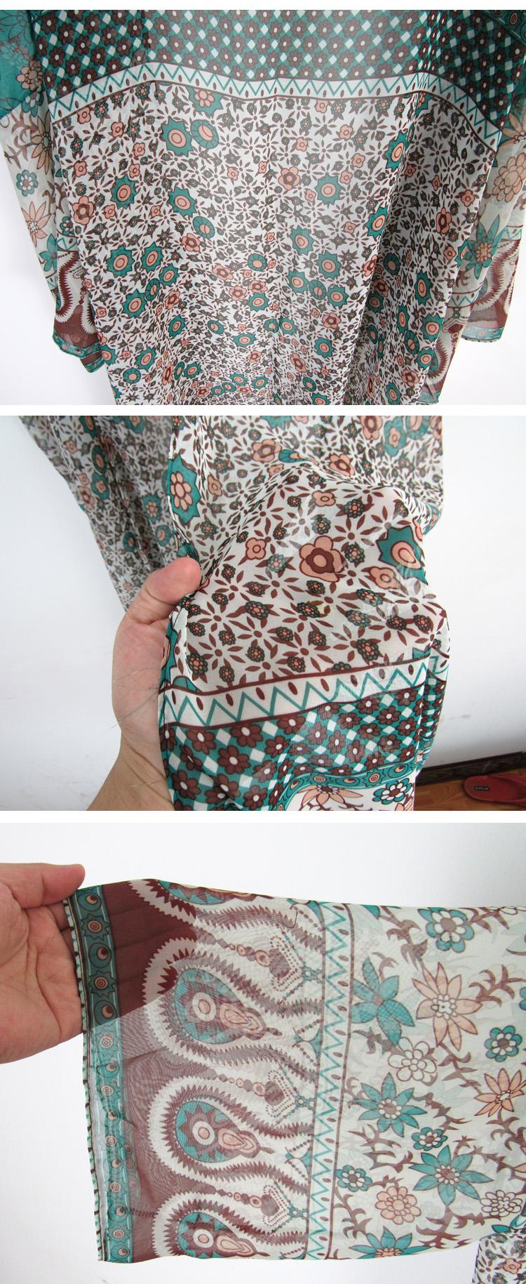 Chiffon Fashiondress(Green floral) NHXW0045-Green floral