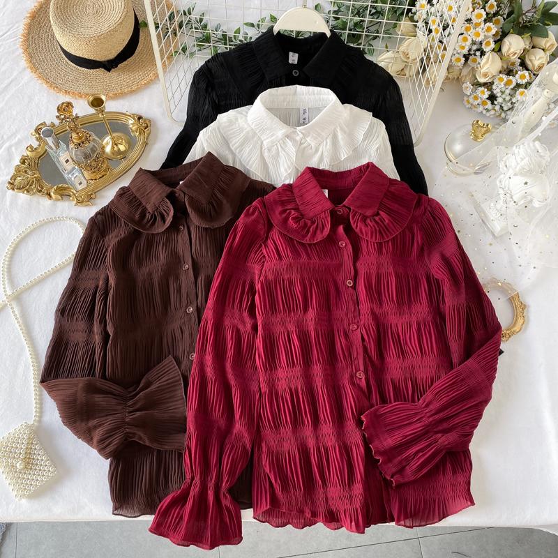 Корейский женщины 2019 новый волна ins рубашка женщина сладкий кукла воротник западный стиль сложить тонкий рукав куртка 609117406090