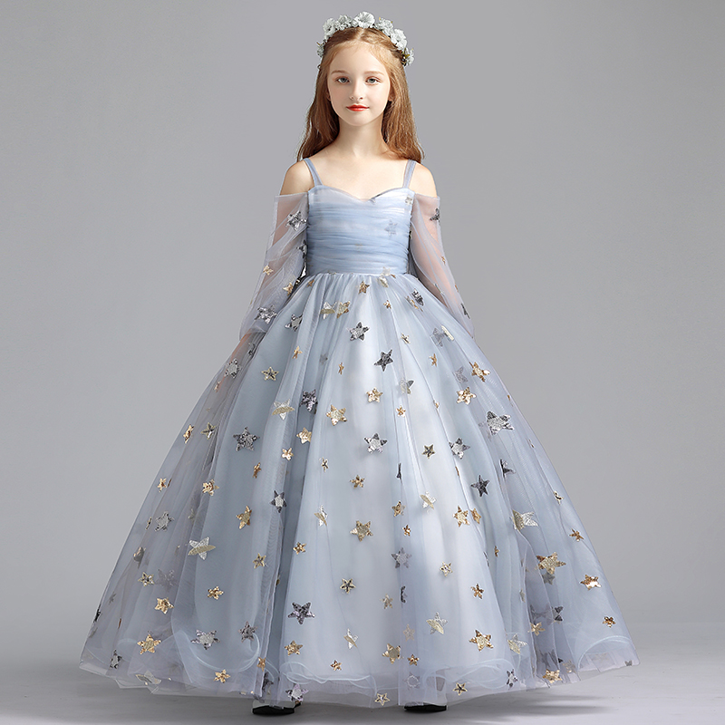 Children's evening dress, princess dress, girl's birthday wedding dress, piano costume