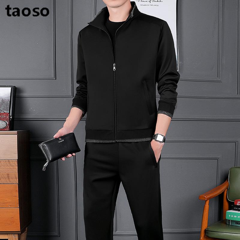 TAOSO/淘搜運動套裝男休閑健身跑步秋季外套潮帥氣青年兩件套
