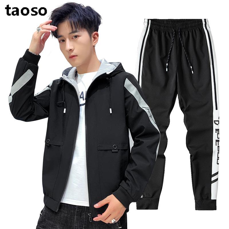 TAOSO/淘搜男士休闲运动套装男秋季两件套连帽开衫跑步运动休闲套