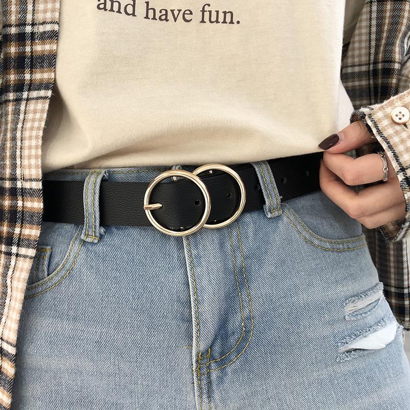 双环皮带女士简约百搭韩国版个性装饰学生ins风酷牛仔裤带腰带女,免费领取3元淘宝优惠卷