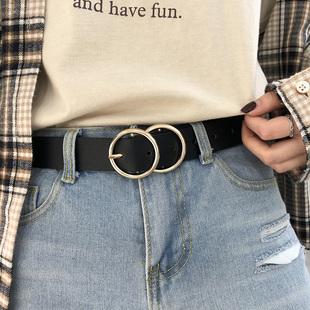 圆扣腰带简约百搭装饰女皮带