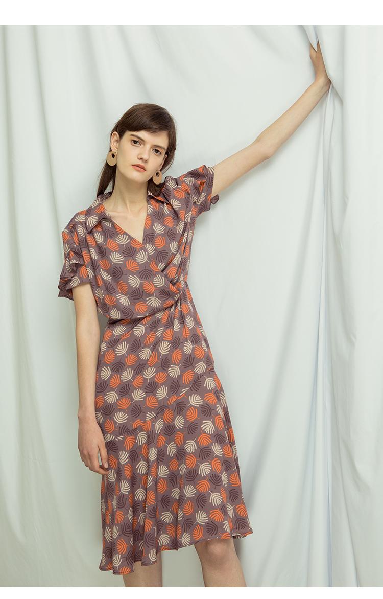 Tương đối sợi Wormwood | Pháp retro in ấn váy hoa đuôi cá váy trong phần dài của eo cao quấn mùa hè