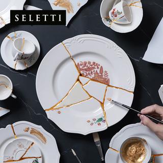 Тарелки декоративные,  Италии seletti ручной работы керамика золото 缮 качели блюдо свет экстравагантный пластина 24K золото ремонт 缮 ремесла цяо переехать подарок, цена 6622 руб