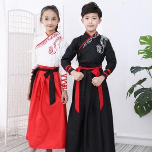 Children's Hanfu boy's ancient chinese prince warrior swordsman cosplay costume children's traditional Chinese school suit