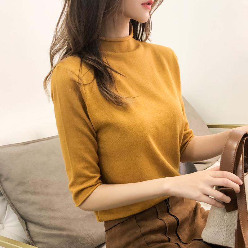 半高领针织衫女春秋装新款短款毛衣女宽松半袖打底衫中袖上衣外穿