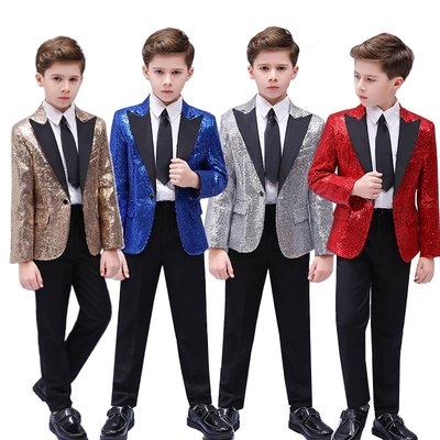 Boys Jazz Dance Costumes dancing piano performances, boys handsome hosting colorful shiny performances, flower children's dresses