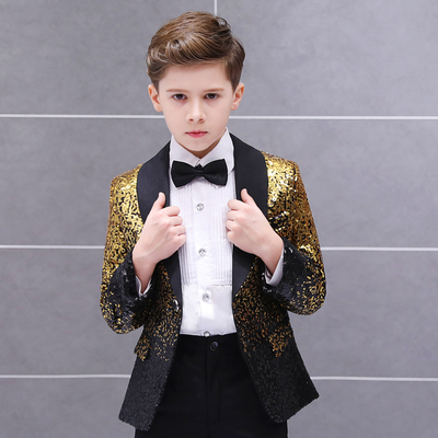 Boys Jazz Dance Costumes Children s Handsome Fashion Gradual Segments Boys Dresses Stage Show Piano Performance Suits Boys Flower Suits