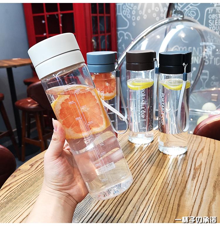 大容量简约塑料杯可携式防摔学生水杯男女健身清新随手杯子运动水壶详细照片