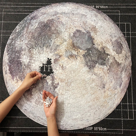 1000 Pieces Adult Difficult Circular Parer Jigsaw Puzzle Decompression Toys-MOON