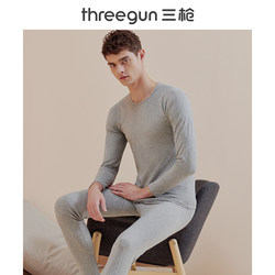 Three-gun thermal underwear men and women fall and winter light and thin elastic soft cotton round neck bottoming couple thermal suit thermal clothing