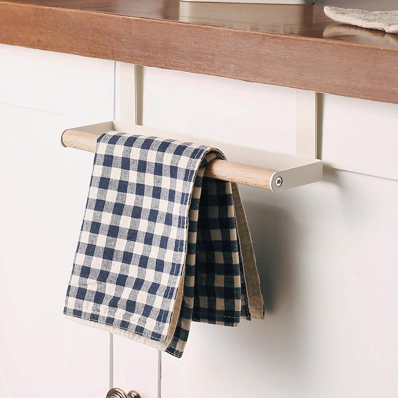 北欧铁艺毛巾架多用厨房浴室橱柜门背式单杆抹布架挂架免钉毛巾杆