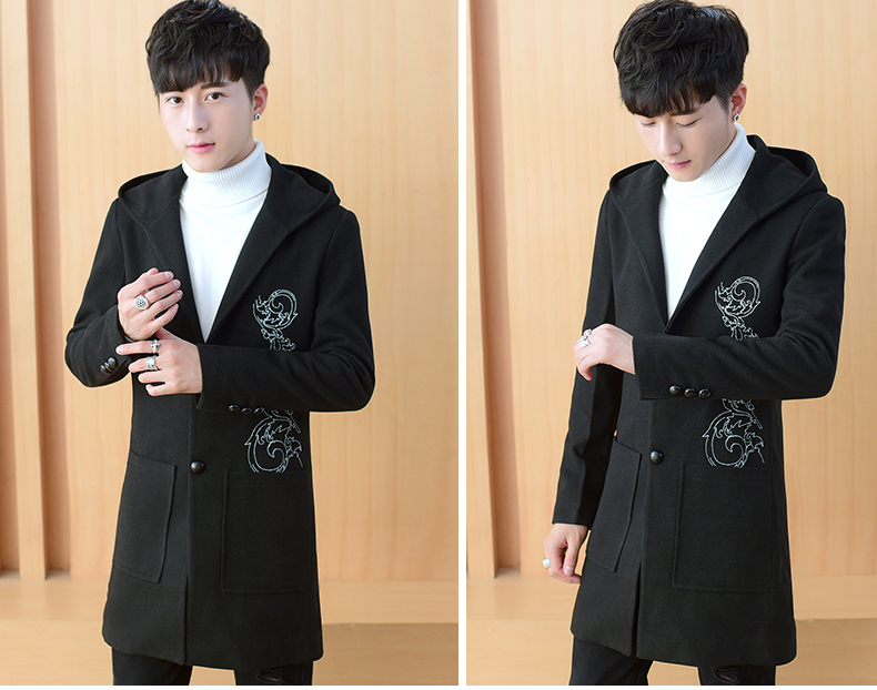 2020 autumn and winter new men's windshields in the long coat men's casual Korean version of the trend youth hair coat 43 Online shopping Bangladesh