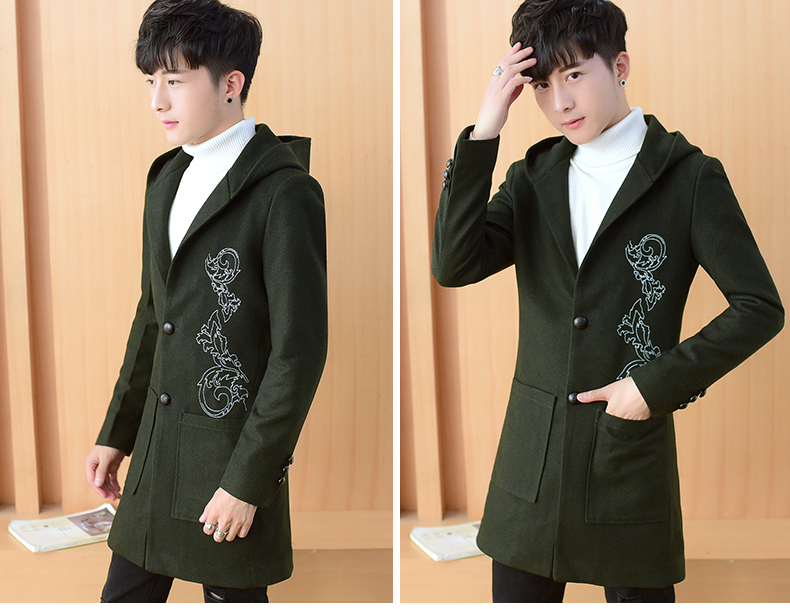 2020 autumn and winter new men's windshields in the long coat men's casual Korean version of the trend youth hair coat 46 Online shopping Bangladesh
