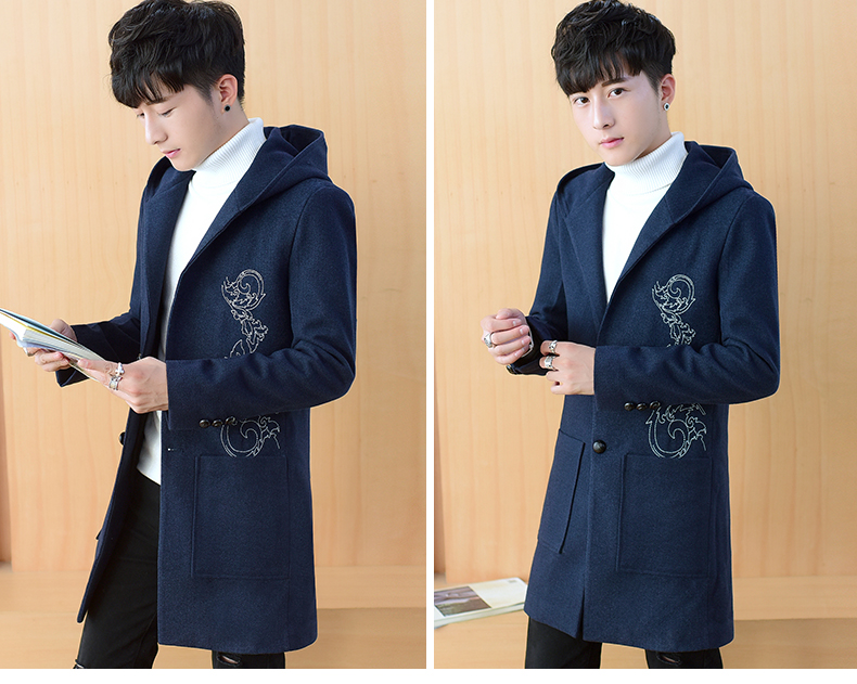 2020 autumn and winter new men's windshields in the long coat men's casual Korean version of the trend youth hair coat 49 Online shopping Bangladesh