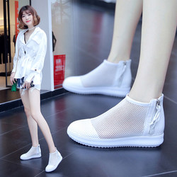 Shoes women 2020 trendy shoes high-top mesh shoes women's breathable mesh casual all-match spring and summer new flat white shoes