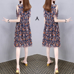 The new summer 2020 women's loose-shouldered chiffon skirt in the long plum-size slimming print fashion dress