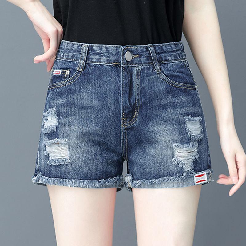 康礼夫破洞新款牛仔短裤女夏季韩版薄款显瘦学生高腰直筒女裤子