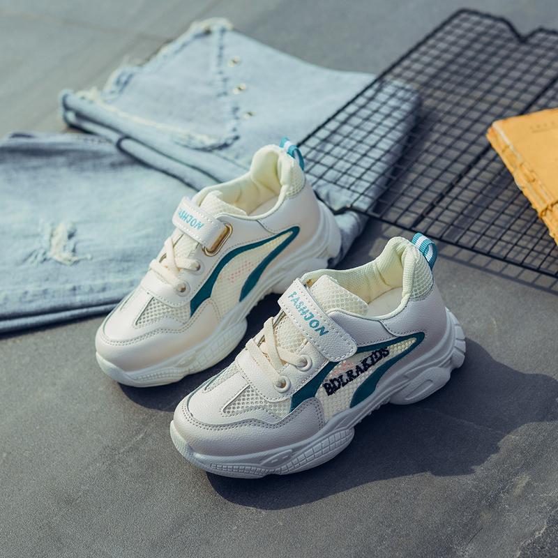 儿童单网鞋小学生运动鞋透气网面小白鞋春秋女童鞋男童网红老爹鞋