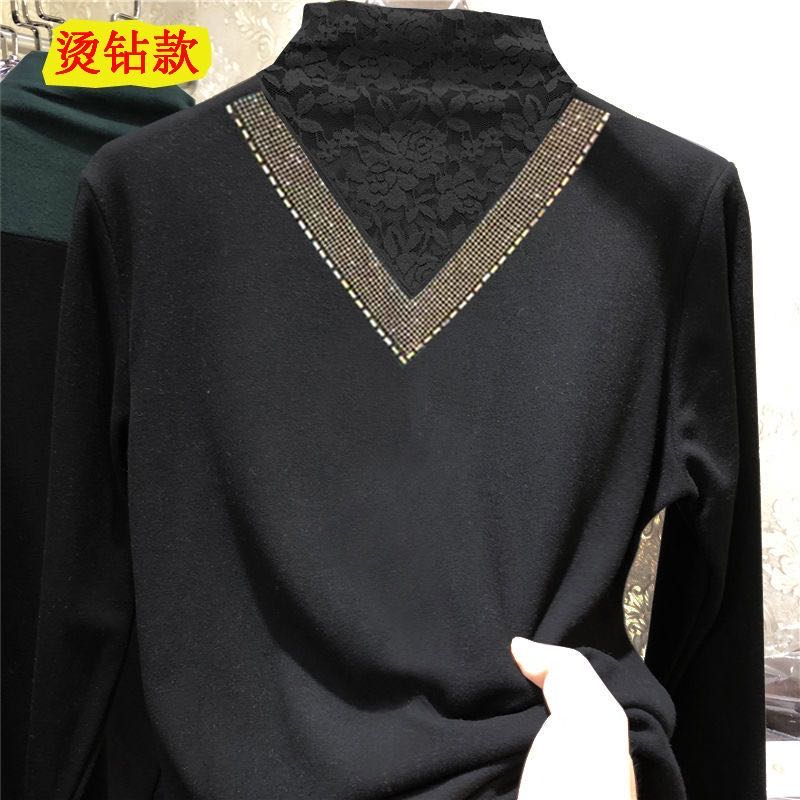 Plus-plus-thick double-sided velvet bottoms with lace semi-high-necked cashmere European top long-sleeved autumn/winter dress 45 Online shopping Bangladesh