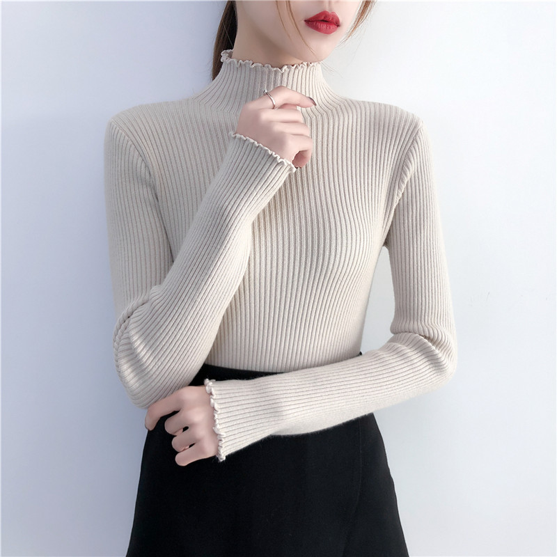 加厚长袖木耳边韩版半高领弹力内搭套头秋显瘦打底衫冬毛衣女针织