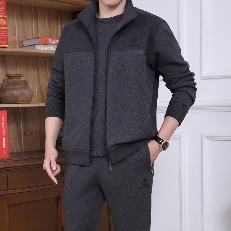 谷李宁美男装运动套装衣服2021新款春秋季中老年人v男装品牌装宽松